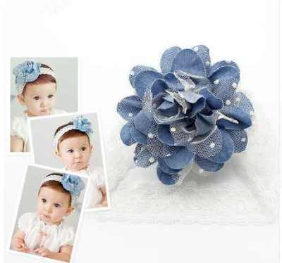 Lace baby denim headband for girls