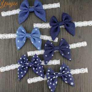 denim bow headband for babies