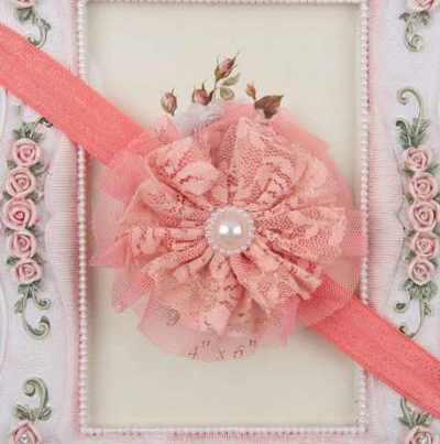 toddler headband peach lace flower