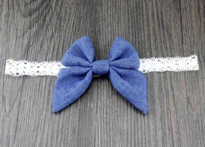 light blue denim bow headband