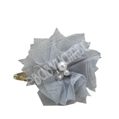 Silver flower hair clip for girls