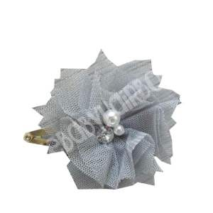 Silver flower hair clip for girls