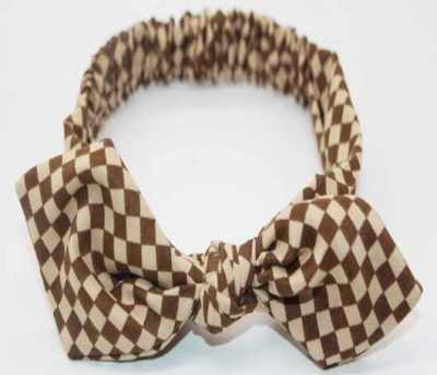 Brown baby top knot headband (with checks)