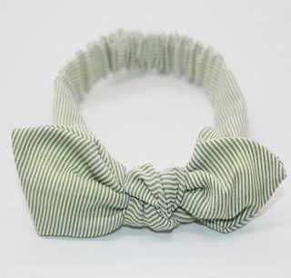 Green stripe baby top knot headband