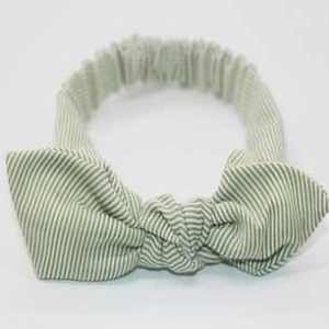 Green stripe baby top knot headband