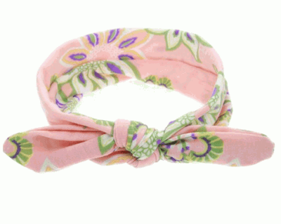 Patterned Pink Top Knot baby Headband