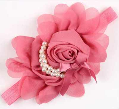 Big Flower Bead Headband Dusty Pink