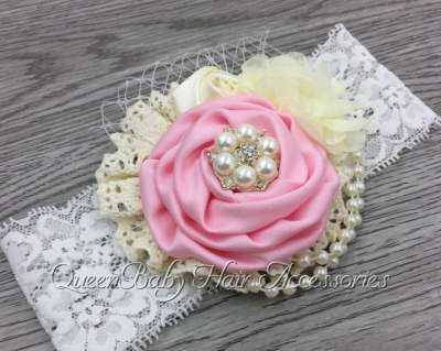 Pink Pearl Lace Headband