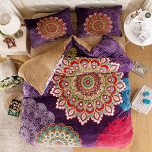Boho bedding in colorful peacock medallion design