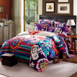 Super colorful bohemian duvet cover set