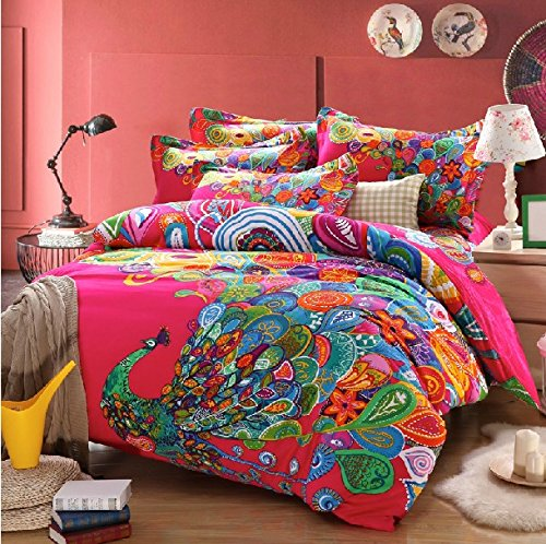 Peacock design boho bedding