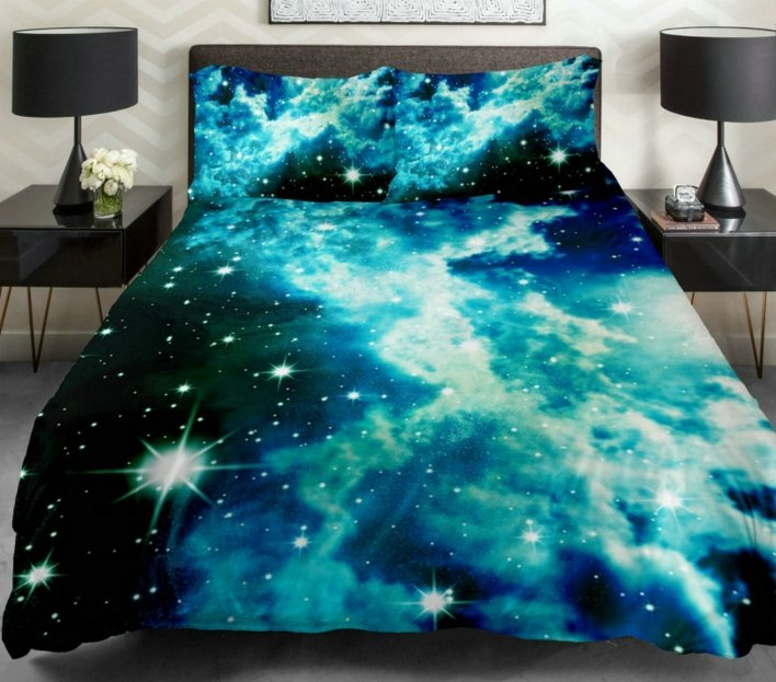 Bright Blue-Green Galaxy Bedding Duvet Cover Set
