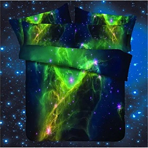 Vibrant Green Galaxy Print Bedding with Duvet Cover