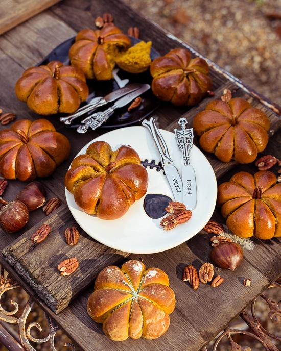 So sehen die leckeren Pumpkinbrötchen fertig aus