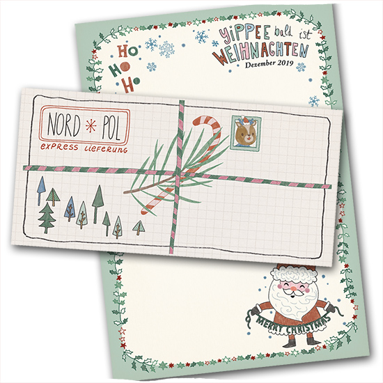Der Brief vom Weihnachtsmann ist A4 und der Umschlag DIN Lang