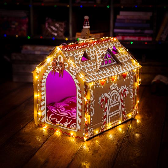 Für die Rote Katze habe ich ein weihnachtliches Katzenhaus gebaut