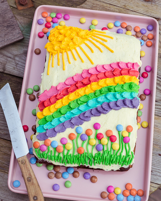 Zum National Find a Rainbow Day gibt es von mir einen Regenbogen Kuchen