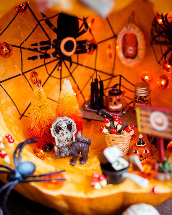 In meinem Halloween Kürbis wohnen natürlich große Spinnen