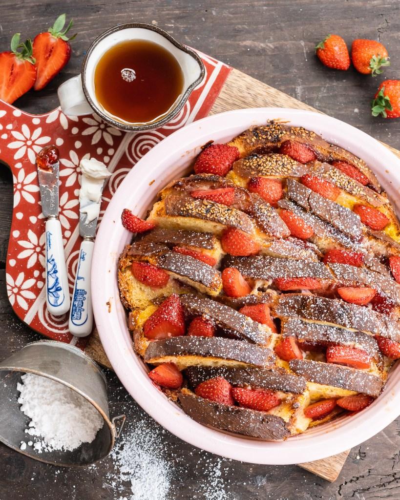 Erdbeer French Toast auf Basis von Challabread