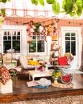 Rosa Haus Veranda Sommer