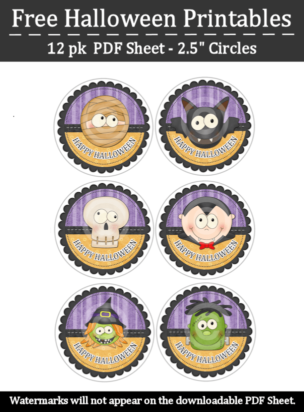 photo regarding Printable Halloween Labels identified as Totally free Halloween Printable Stickers Labels Cupcake Toppers