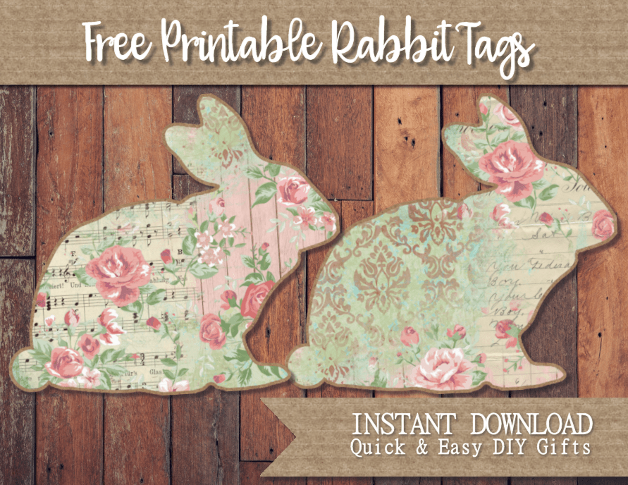 Cottage chic easter rabbit tags