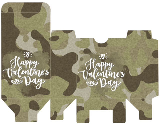 photograph relating to Camo Printable titled Camo Valentine Reward Box Cost-free Printable