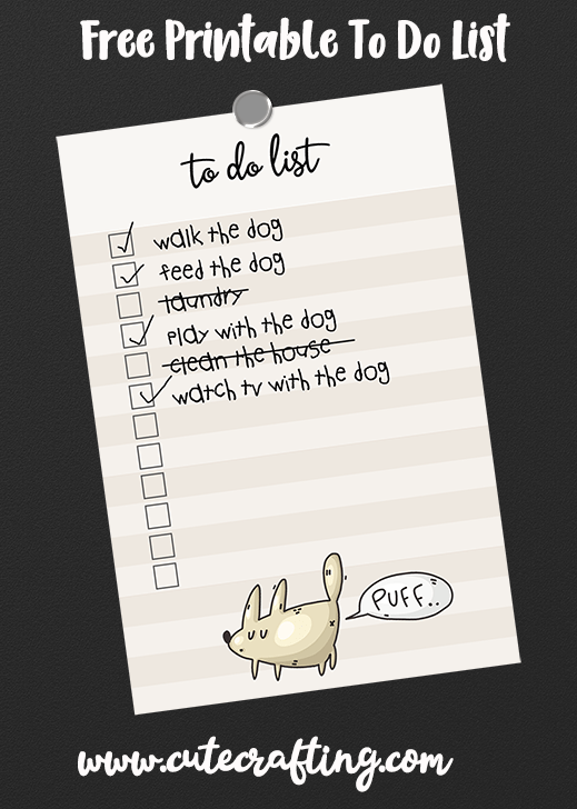 free funny dog printable to do list
