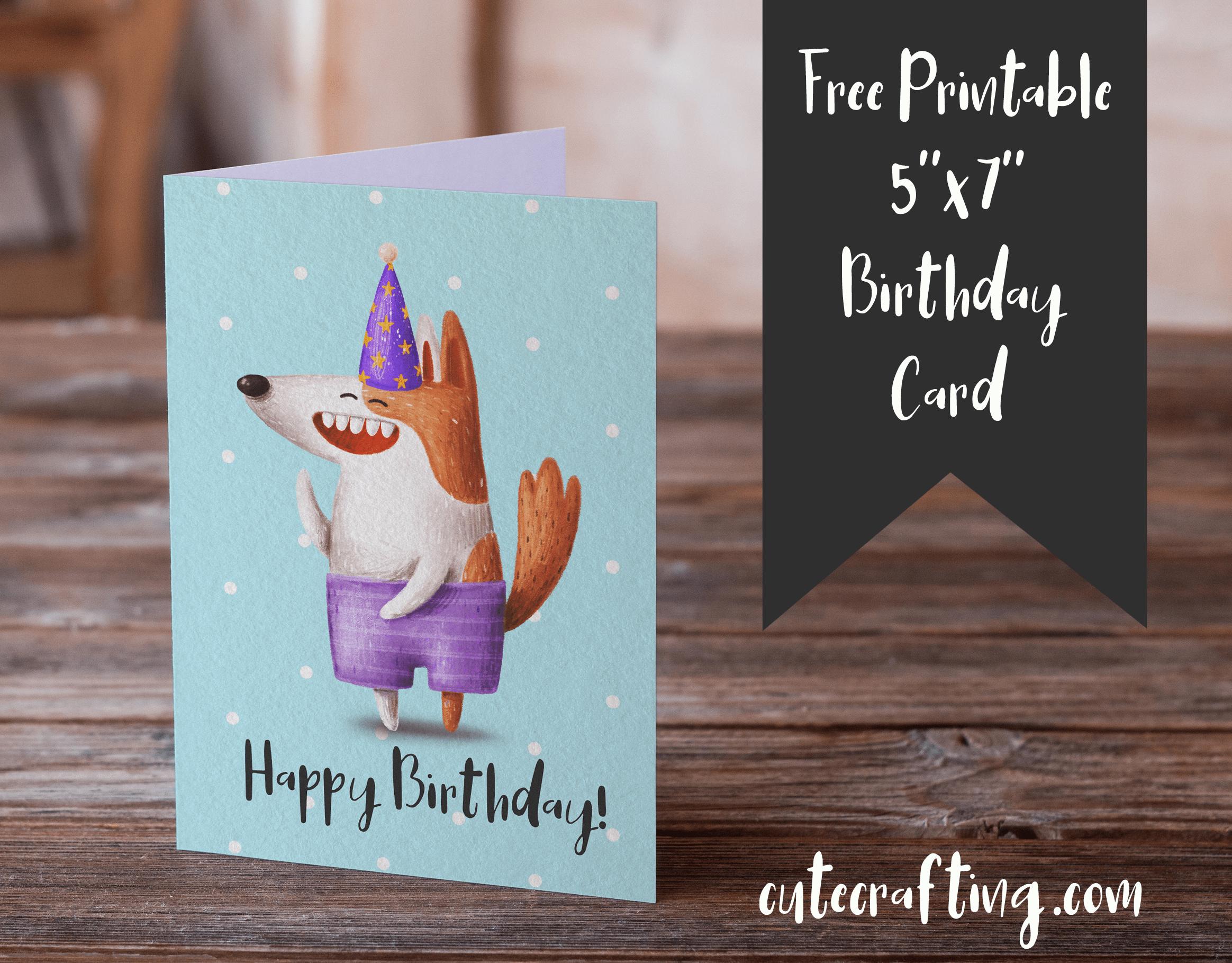 photo regarding Dog Birthday Cards Printable Free known as Absolutely free Printable Birthday Card Humorous Cartoon Doggy 5×7
