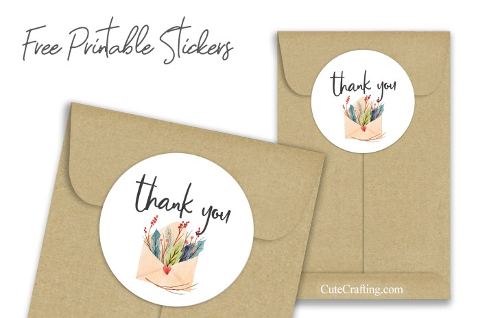 Christmas Envelope Bouquet Thank You Stickers