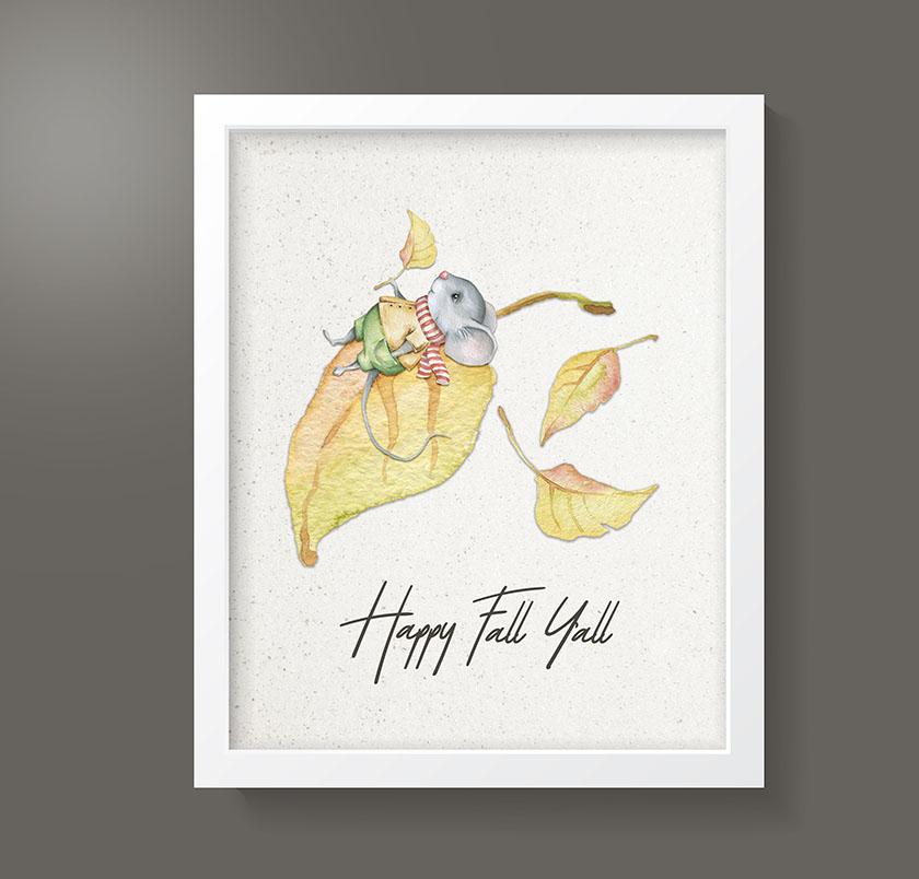 happy fall y'all wall art free printable
