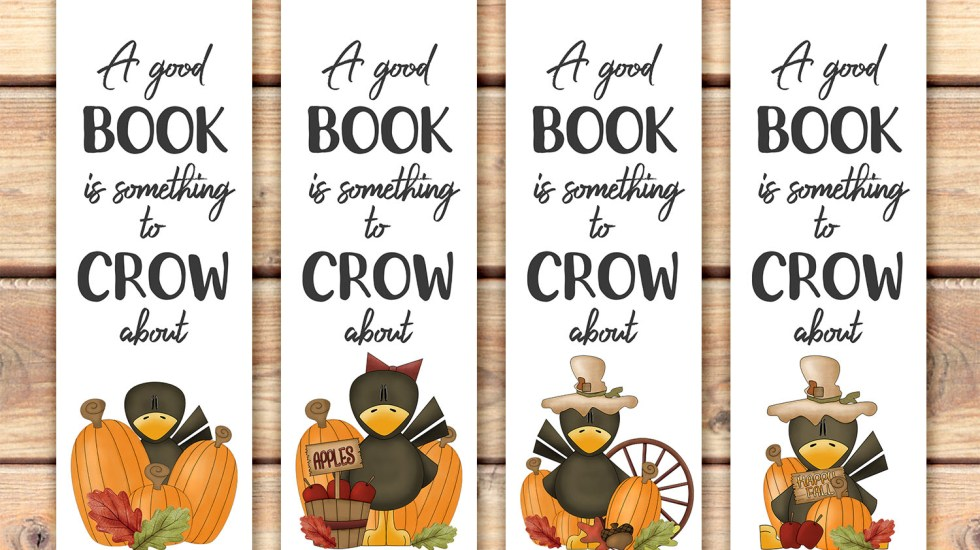 Fall Crows Printable Bookmarks