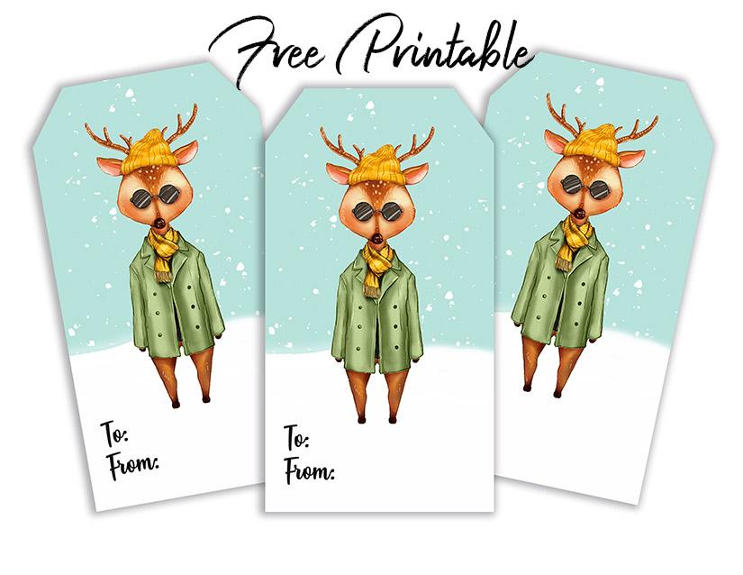 Christmas Fashion Deer Printable Gift Tags