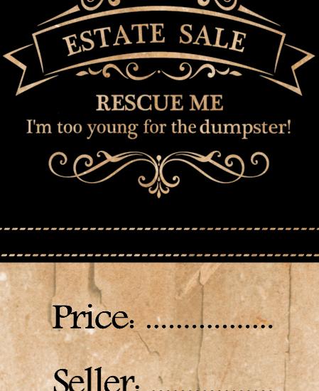 estate sale price tags