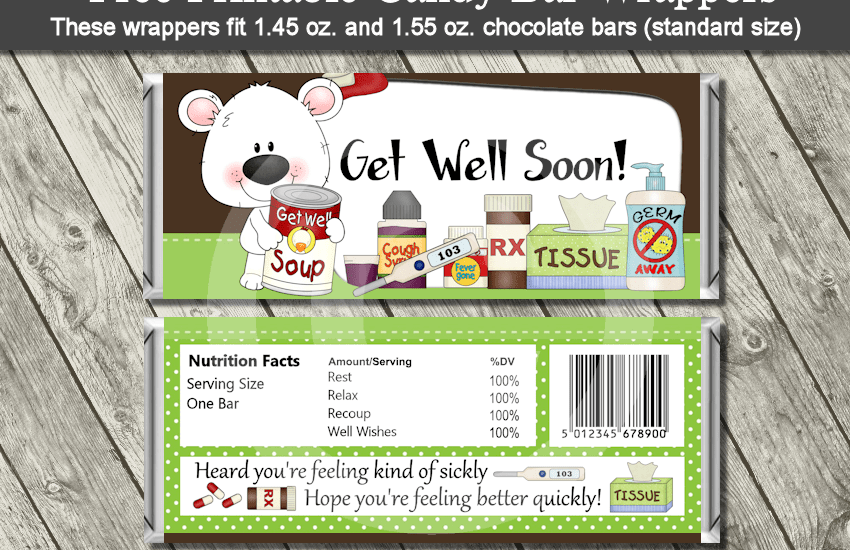 get well candy bar wrapper free printable download