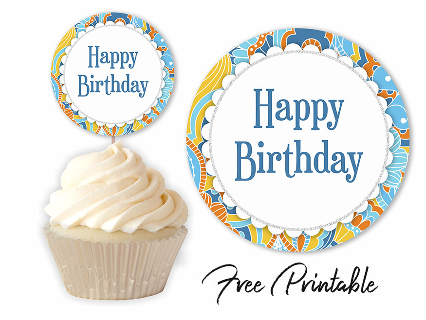graphic about Happy Birthday Cake Topper Printable titled Retro Design and style Joyful Birthday Printable Cupcake Topper