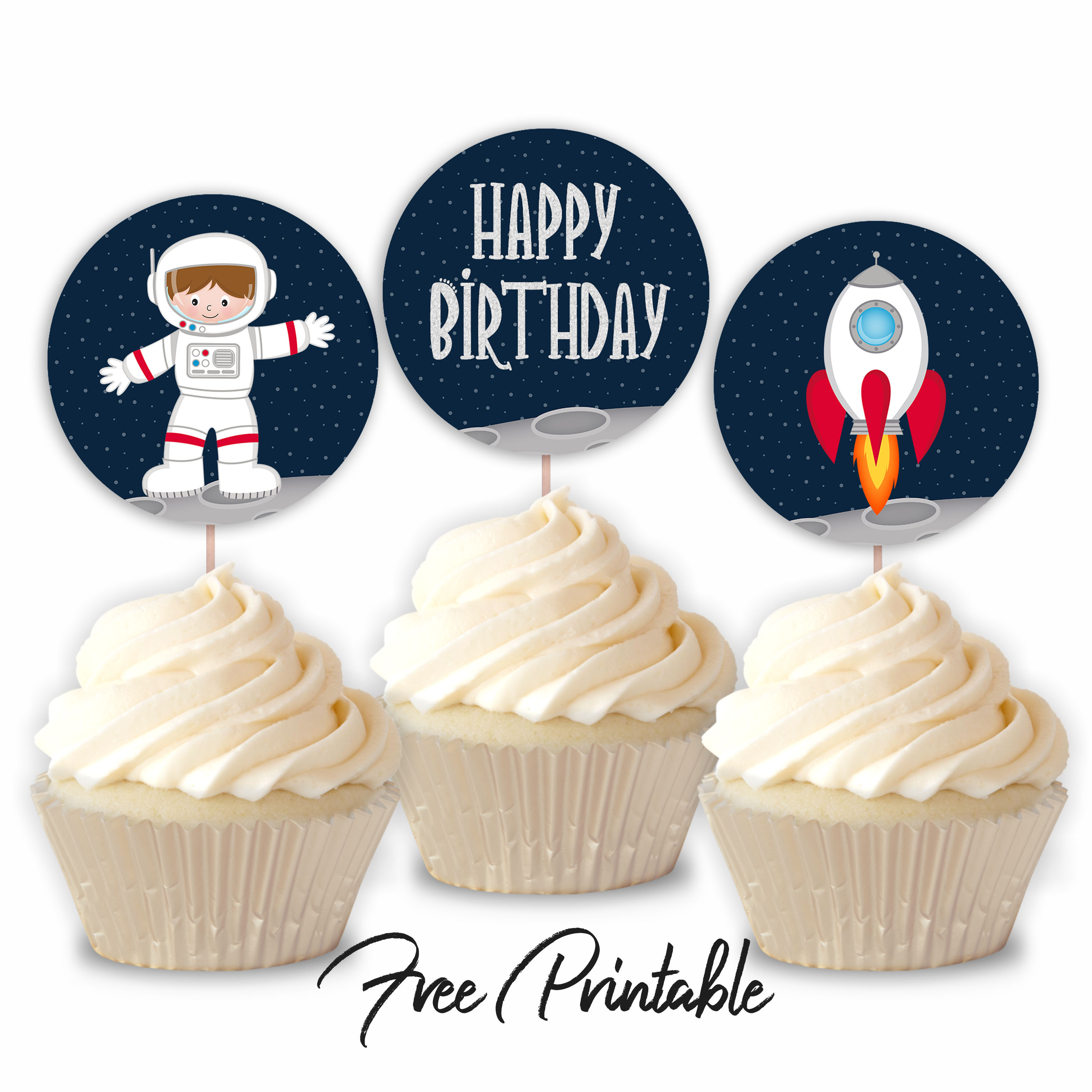 Outer Space Printable Happy Birthday Cupcake Toppers