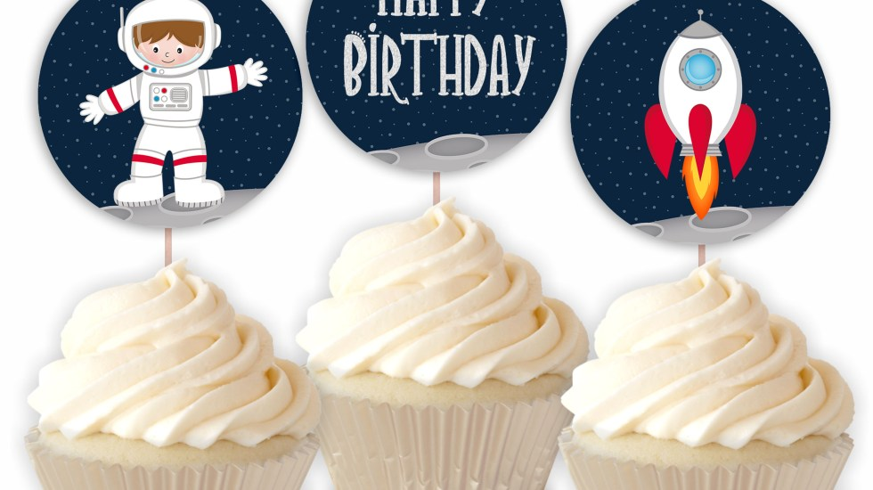 Outer Space Printable Astronaut Cupcake Toppers
