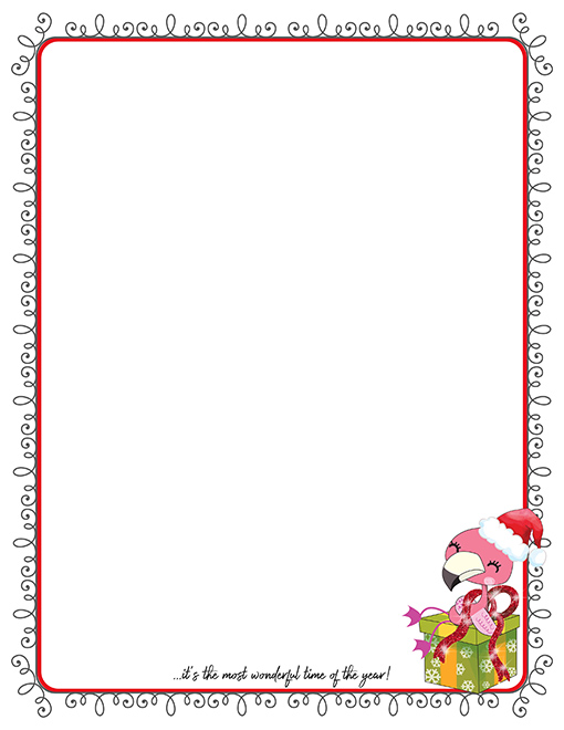 flamingo christmas printable paper stationery