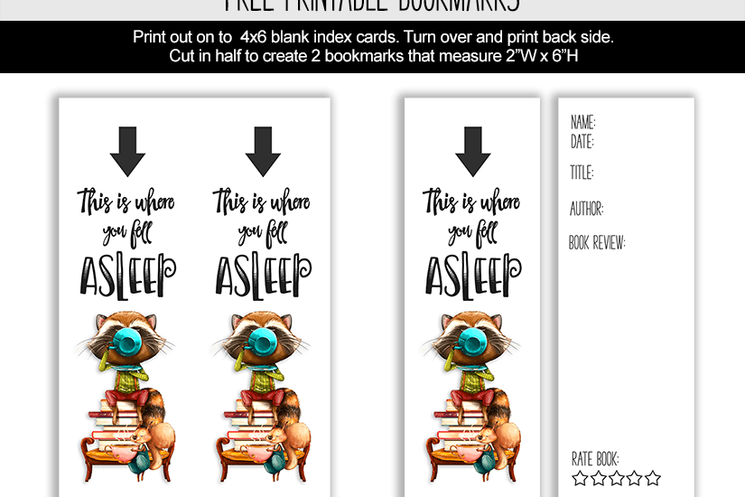 This is where you fell asleep printable bookmark
