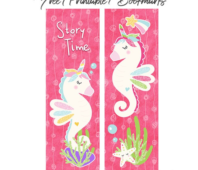 Bookmarks for kids girls seahorse unicorns