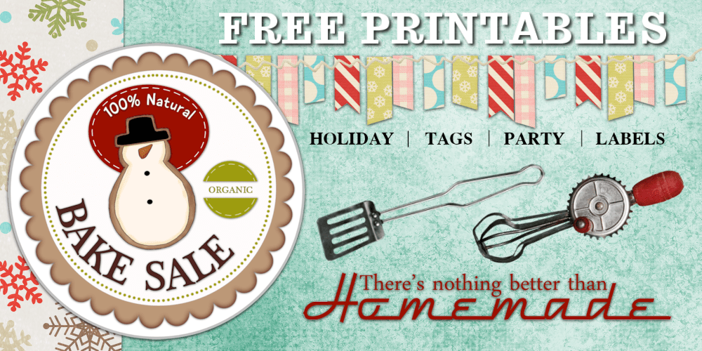 bake sale printable stickers and tags