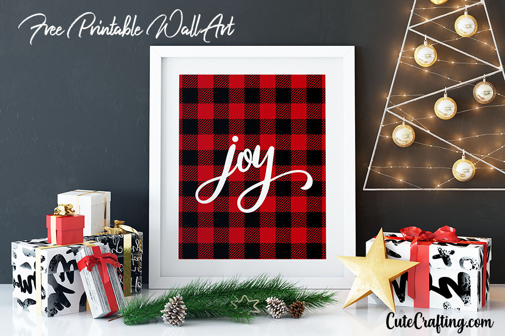 Buffalo Plaid Joy Christmas Free Printable