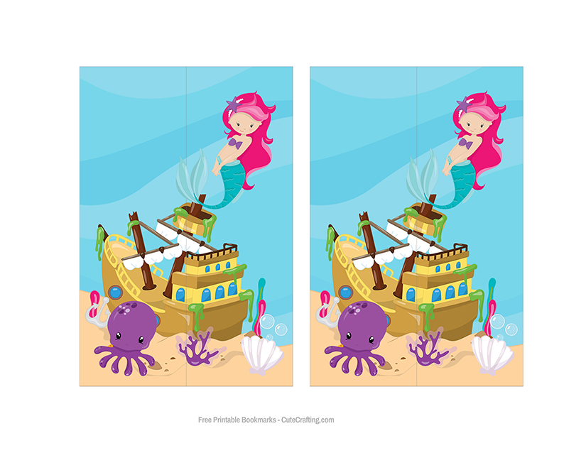 printable mermaid bookmark under the sea
