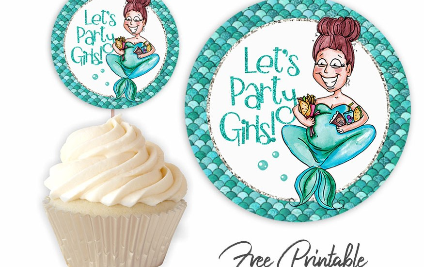 funny pregnant mermaid baby shower cupcake toppers