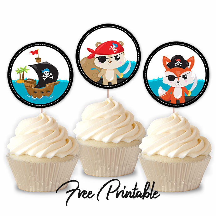 Pirate Birthday Party Toddlers Printable Cupcake Toppers