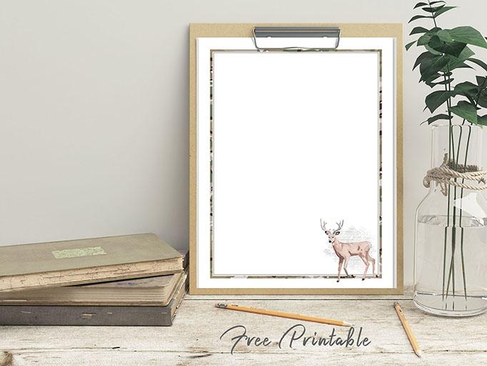 deer camo printable stationery