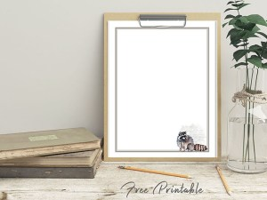 Printable Stationery Paper Page Raccoon
