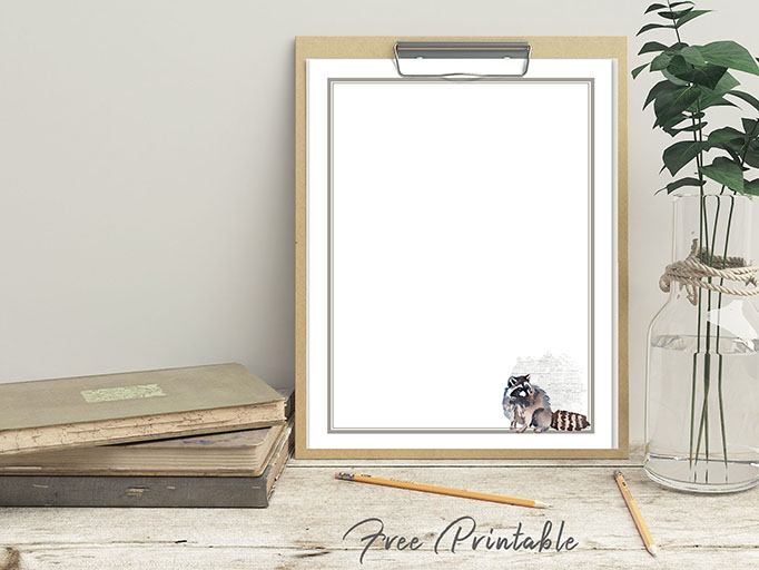 printable raccoon stationery