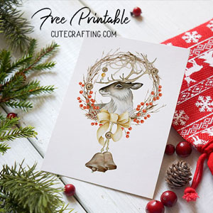 christmas deer card free printable 5x7